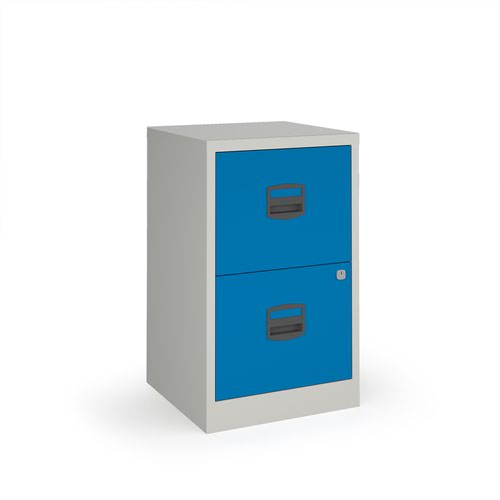 Image for Bisley A4 home filer with 2 drawers - grey with blue drawers