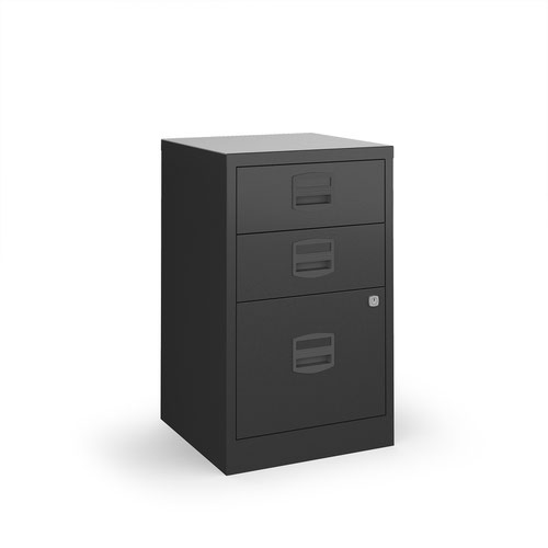 Bisley A4 home filer with 3 drawers - black