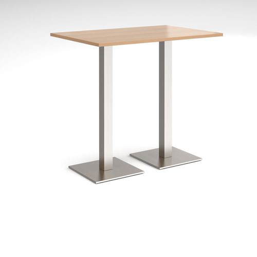 Brescia rectangular poseur table with flat square brushed steel bases 1200mm x 800mm - beech