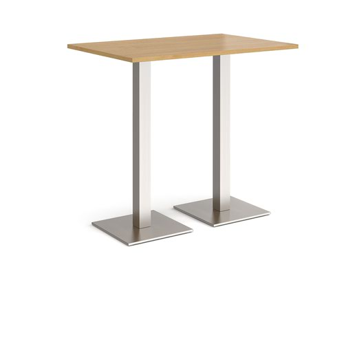 Brescia rectangular poseur table with flat square brushed steel bases 1200mm x 800mm - oak