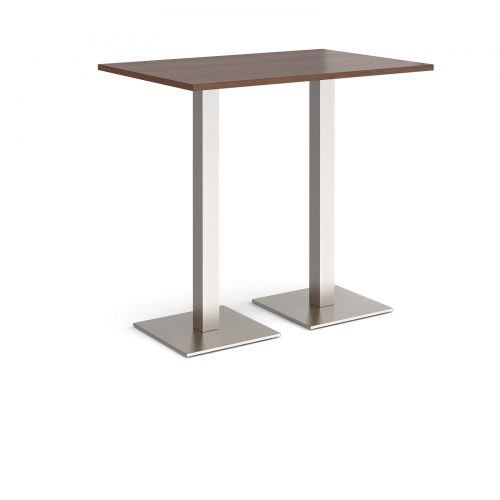 Brescia rectangular poseur table with flat square brushed steel bases 1200mm x 800mm - walnut