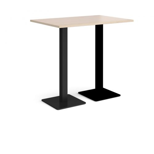 Brescia rectangular poseur table with flat square black bases 1200mm x 800mm - maple