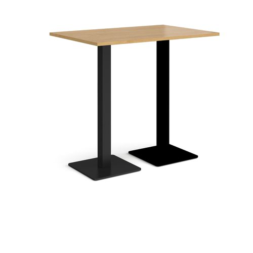Brescia rectangular poseur table with flat square black bases 1200mm x 800mm - oak