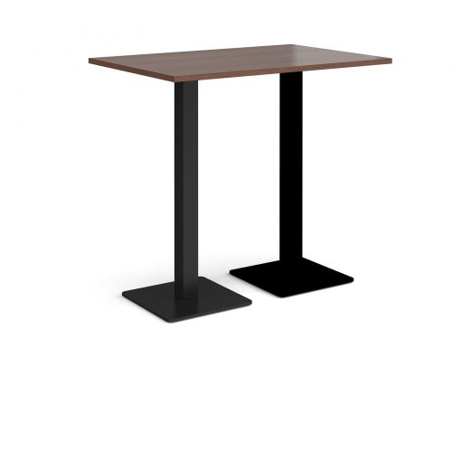Brescia rectangular poseur table with flat square black bases 1200mm x 800mm - walnut