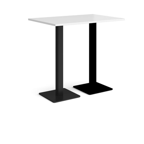 Brescia rectangular poseur table with flat square black bases 1200mm x 800mm - white