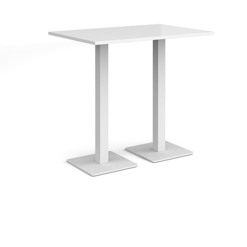 Brescia rectangular poseur table with flat square white bases 1200mm x 800mm - white