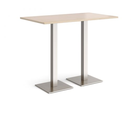 Brescia rectangular poseur table with flat square brushed steel bases 1400mm x 800mm - maple