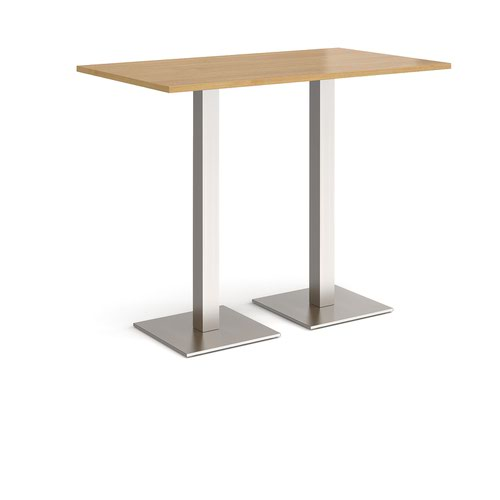 Brescia rectangular poseur table with flat square brushed steel bases 1400mm x 800mm - oak