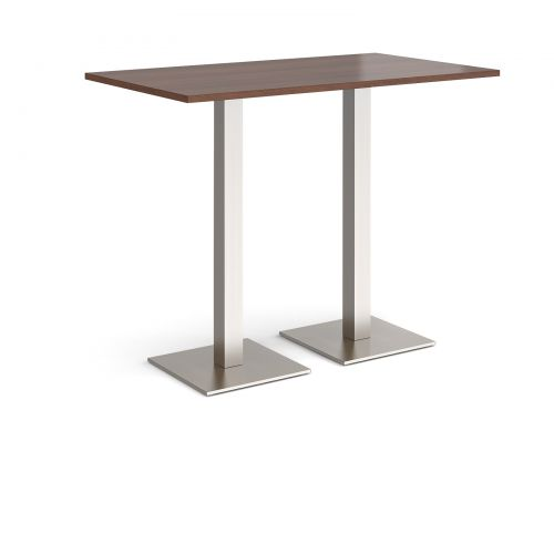 Brescia rectangular poseur table with flat square brushed steel bases 1400mm x 800mm - walnut