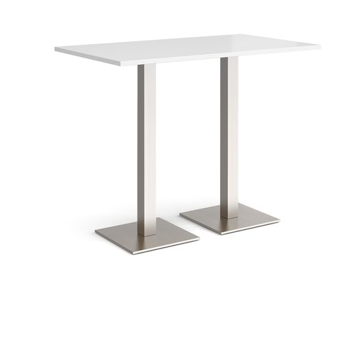 Brescia rectangular poseur table with flat square brushed steel bases 1400mm x 800mm - white