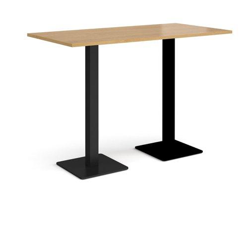 Brescia rectangular poseur table with flat square black bases 1600mm x 800mm - oak