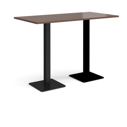 Brescia rectangular poseur table with flat square black bases 1600mm x 800mm - walnut