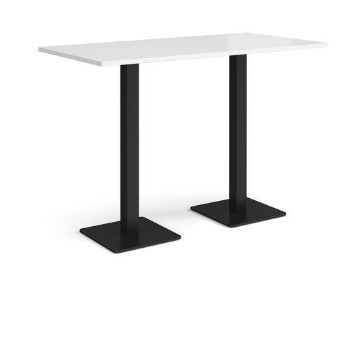 Brescia rectangular poseur table with flat square black bases 1600mm x 800mm - white