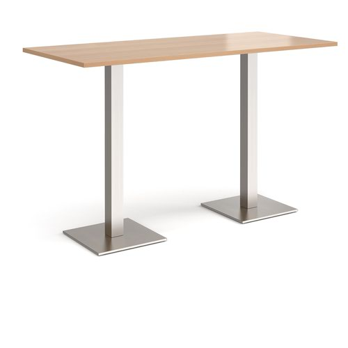 Brescia rectangular poseur table with flat square brushed steel bases 1800mm x 800mm - beech