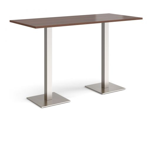 Brescia rectangular poseur table with flat square brushed steel bases 1800mm x 800mm - walnut