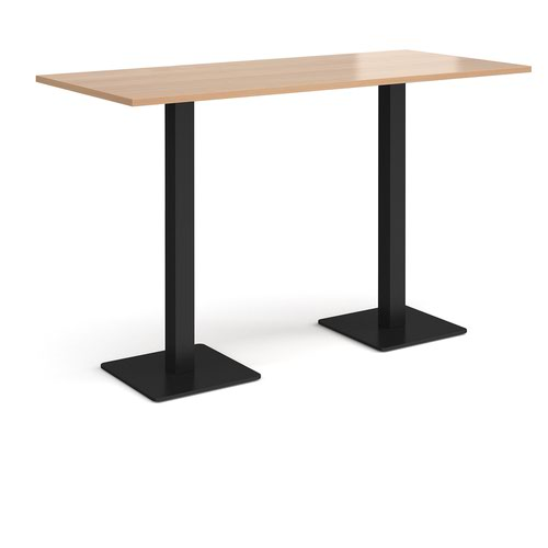 Brescia rectangular poseur table with flat square black bases 1800mm x 800mm - beech