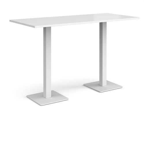 Brescia rectangular poseur table with flat square white bases 1800mm x 800mm - white