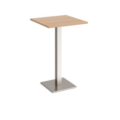 Brescia square poseur table with flat square brushed steel base 700mm - beech