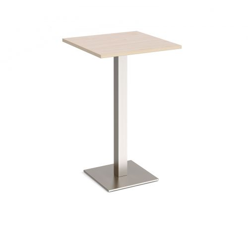 Brescia square poseur table with flat square brushed steel base 700mm - maple
