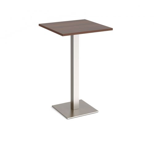 Brescia square poseur table with flat square brushed steel base 700mm - walnut