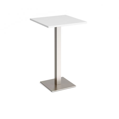 Brescia square poseur table with flat square brushed steel base 700mm - white