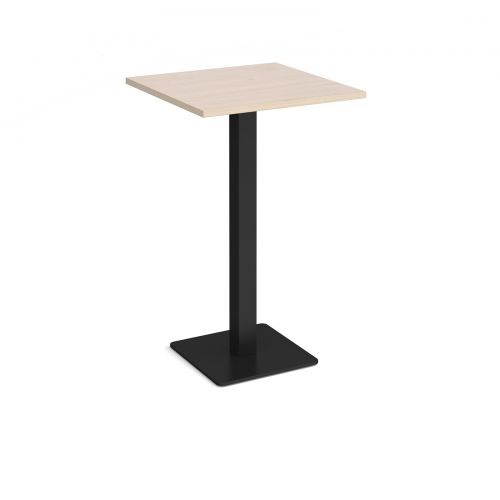 Brescia square poseur table with flat square black base 700mm - maple