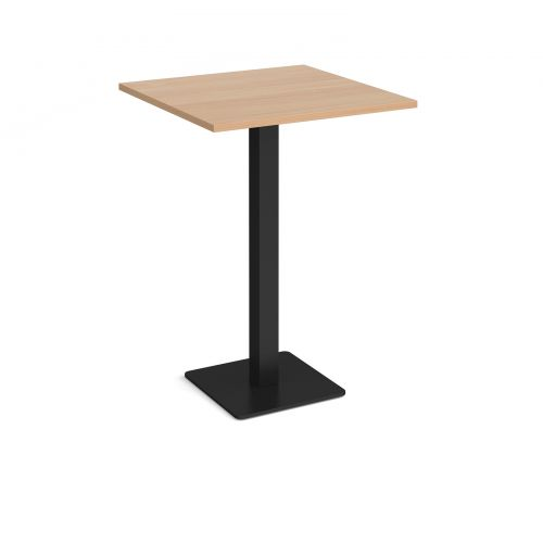 Brescia square poseur table with flat square black base 800mm - beech