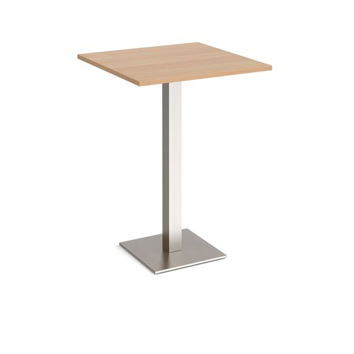 Brescia square poseur table with flat square brushed steel base 800mm - beech
