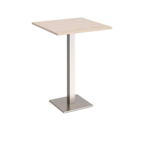 Brescia square poseur table with flat square brushed steel base 800mm - maple