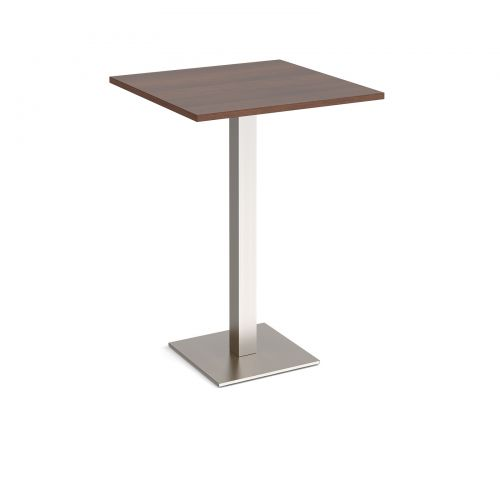 Brescia square poseur table with flat square brushed steel base 800mm - walnut