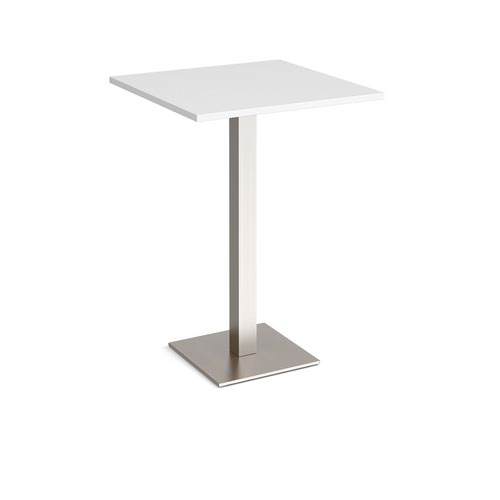 Brescia square poseur table with flat square brushed steel base 800mm - white