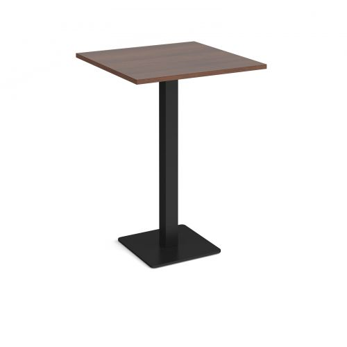 Brescia square poseur table with flat square black base 800mm - walnut