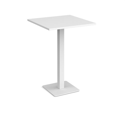 Brescia square poseur table with flat square white base 800mm - white