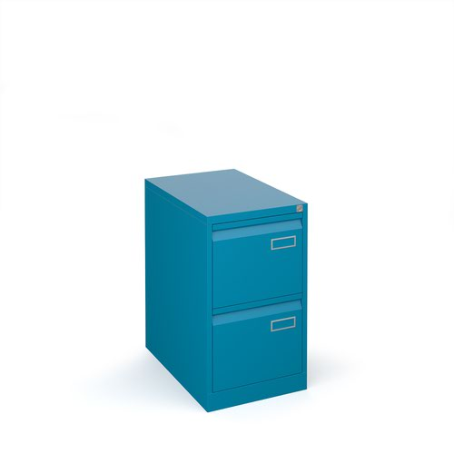 Bisley steel 2 drawer public sector contract filing cabinet 711mm high - blue
