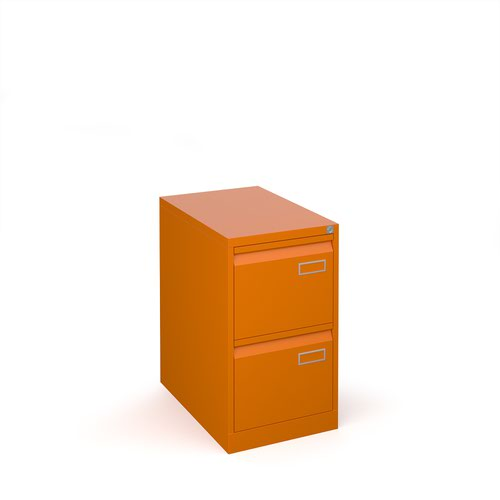 Image for Bisley steel 2 drawer public sector contract filing cabinet 711mm high - orange