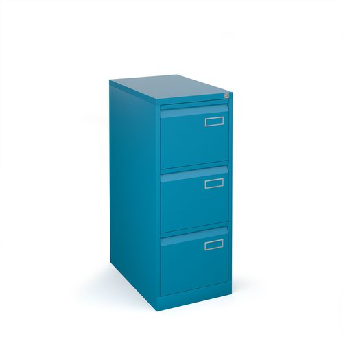 Bisley steel 3 drawer public sector contract filing cabinet 1016mm high - blue