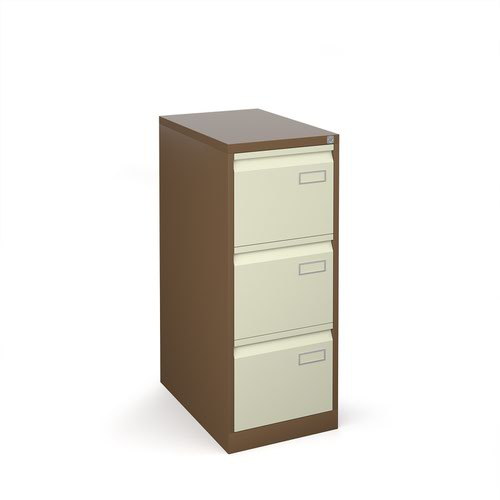 Bisley steel 3 drawer public sector contract filing cabinet 1016mm high - coffee/cream