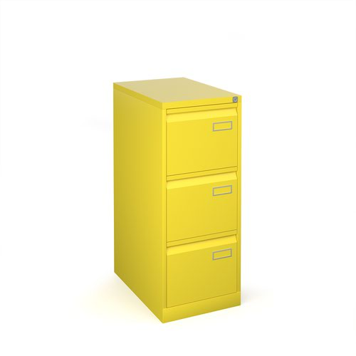 Image for Bisley steel 3 drawer public sector contract filing cabinet 1016mm high - yellow