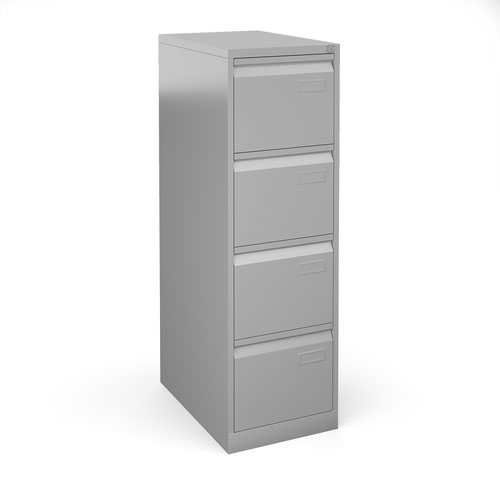 Bisley steel 4 drawer public sector contract filing cabinet 1321mm high - silver