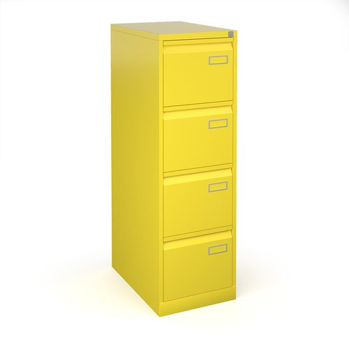 Image for Bisley steel 4 drawer public sector contract filing cabinet 1321mm high - yellow