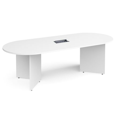 Arrow head leg radial end boardroom table 2400mm x 1000mm in white with central cutout and Aero power module