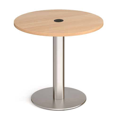 Monza circular dining table 800mm in beech with central circular cutout and Ion power module in black