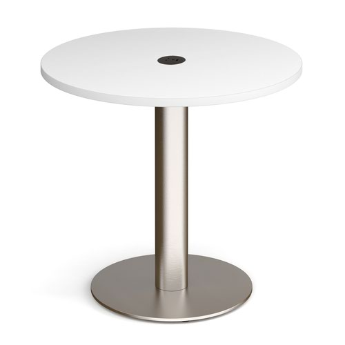 Monza circular dining table 800mm in white with central circular cutout and Ion power module in black