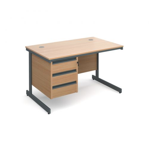 Maestro cantilever leg straight desk with 3 drawer pedestal 1228mm - beech