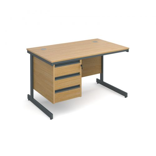 Maestro cantilever leg straight desk with 3 drawer pedestal 1228mm - oak