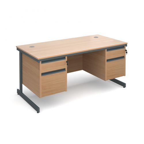 Maestro cantilever leg straight desk with 2 and 2 drawer pedestals 1532mm - beech