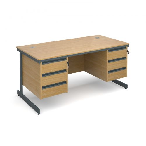 Maestro cantilever leg straight desk with 3 and 3 drawer pedestals 1532mm - oak