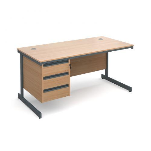 Maestro cantilever leg straight desk with 3 drawer pedestal 1532mm - beech