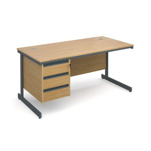 Maestro cantilever leg straight desk with 3 drawer pedestal 1532mm - oak