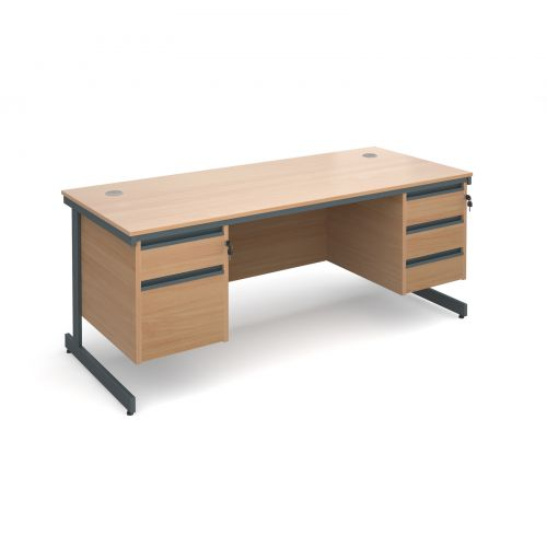 Maestro cantilever leg straight desk with 2 and 3 drawer pedestals 1786mm - beech